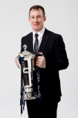 Rob Howley the Wales interim head coach poses with the Six Nations trophy during the RBS Six Nations launch at The Hurlingham Club on January 23 2013...