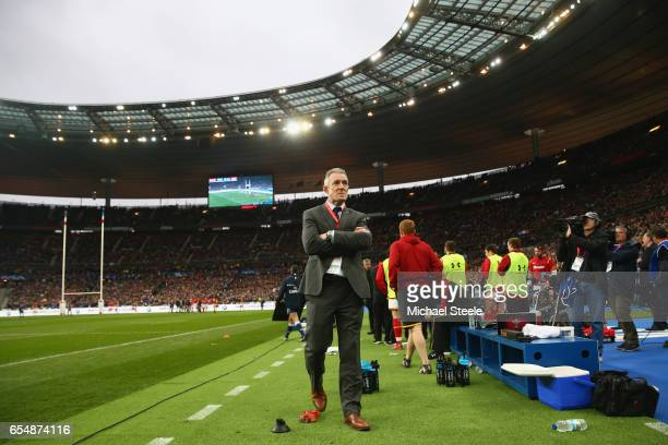 Rob Howley the Wales Temporary Head Coach looks on as play continues deep into injury time forduring the RBS Six Nations match between France and...