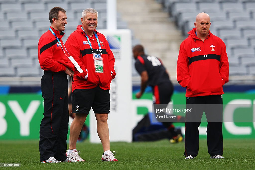 Rob Howley Wales assistant coach, Warren Gatland, head coach of Wales and Wales assistant coach Shaun Edwards look on during a Wales IRB Rugby World Cup 2011 captain's run at Eden Park on October 14, 2011 in Auckland, New Zealand.