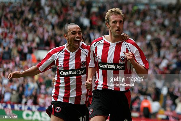 Rob Hulse of Sheffield United celebrates scoring the opening goal with team mate Danny Webber during the Barclays Premiership match between Sheffield...