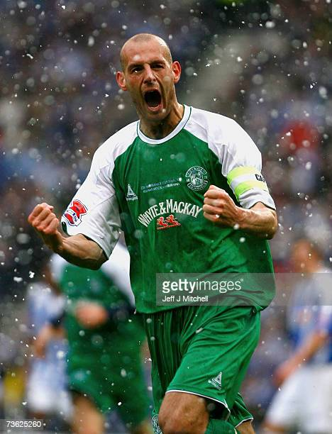 Rob Jones of Hibernian celebrates after scoring during the CIS Insurance Cup Final between Kilmarnock and Hibernian at Hampden Park March 18 2007 in...