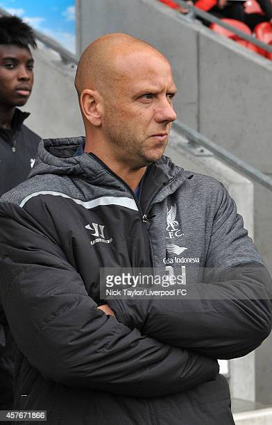 Rob Jones of Liverpool during the UEFA Youth Champions League fixture between Liverpool and Real Madrid at Langtree Park on October 22 2014 in St...