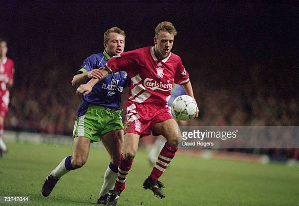 Rob Jones right and Liam Robinson during the FA Cup third round replay match between Liverpool FC and Bristol City at Anfield 25th January 1994...