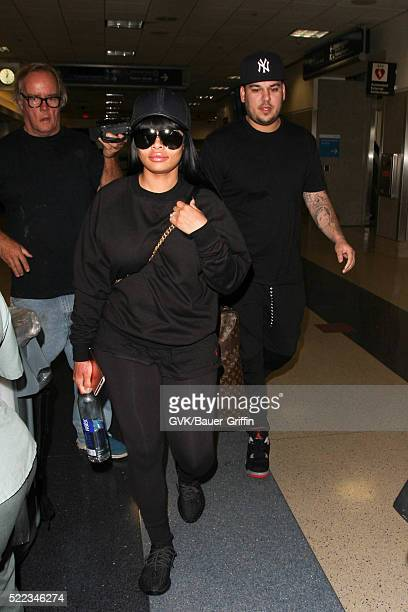 Rob Kardashian and Blac Chyna are seen at LAX on April 18 2016 in Los Angeles California
