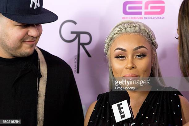 Rob Kardashian and Blac Chyna arrive at her Blac Chyna Birthday Celebration And Unveiling Of Her 'Chymoji' Emoji Collection at the Hard Rock Cafe on...