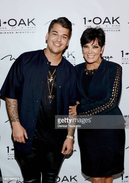 Rob Kardashian and Kris Jenner arrives at Rob Kardashian's 26th birthday celebration at 1 OAK Nightclub at The Mirage Hotel Casino on March 15 2013...