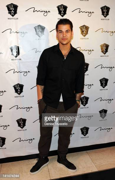 Rob Kardashian arrives at Rob Kardashian's birthday celebration at 1 Oak on March 16 2012 in Las Vegas Nevada