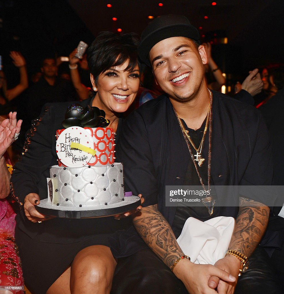 Rob Kardashian (R) celebrates his 26th birthday with his mom <a gi-track='captionPersonalityLinkClicked' href=/galleries/search?phrase=Kris+Jenner&family=editorial&specificpeople=762610 ng-click='$event.stopPropagation()'>Kris Jenner</a> (R) at 1 OAK Nightclub at The Mirage Hotel & Casino on March 15, 2013 in Las Vegas, Nevada.