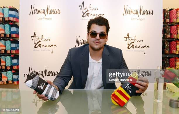 Rob Kardashian during his new Arthur George by Rob Kardashian sock collection unveiling at Neiman Marcus on May 25 2013 in Las Vegas Nevada