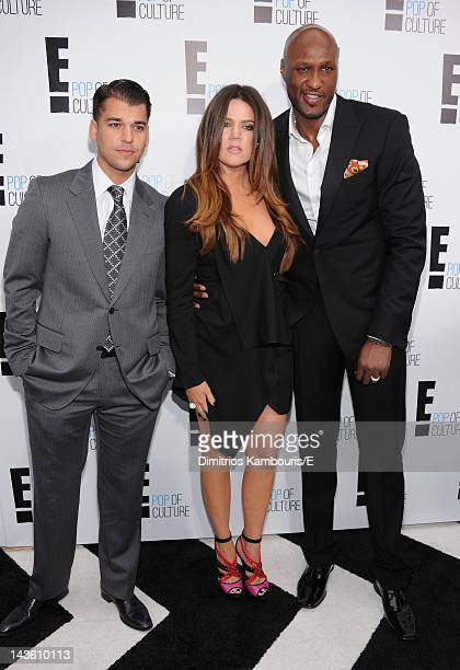 Rob Kardashian Khloe Kardashian Odom and Lamar Odom of 'Keeping Up With The Kardashians' attend E 2012 Upfront at NYC Gotham Hall on April 30 2012 in...