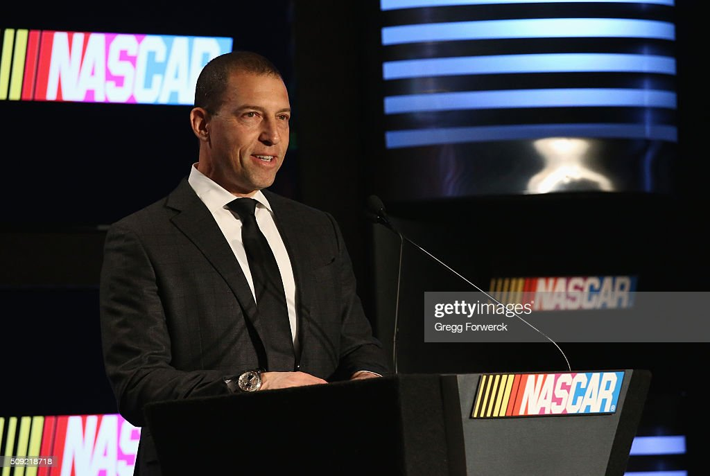 Rob Kauffman Co-Owner of Chip Ganassi Racing addresses the media at Charlotte Convention Center on February 9, 2016 in Charlotte, North Carolina.