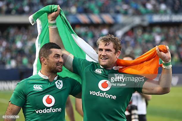 Rob Kearney and Jamie Heaslip of Ireland celebrates following his team's 4029 victory during the international match between Ireland and New Zealand...