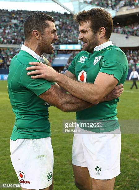 Rob Kearney and Jared Payne of Ireland celebrate following their team's 4029 victory during the international match between Ireland and New Zealand...