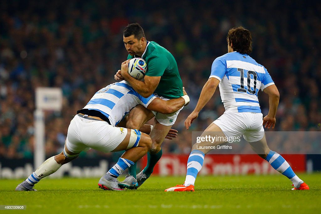 Rob Kearney of Ireland attempts to break through the Argentina defence during the 2015 Rugby World Cup Quarter Final match between Ireland and...