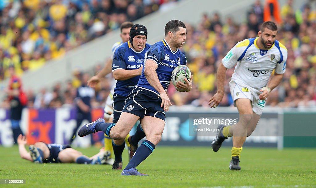 Rob Kearney of Leinster makes a break to set up a try for <a gi-track='captionPersonalityLinkClicked' href=/galleries/search?phrase=Cian+Healy&family=editorial&specificpeople=4166531 ng-click='$event.stopPropagation()'>Cian Healy</a> during the Heineken Cup semi final match between ASM Clermont Auvergne and Leinster at Stade Chaban-Delmas on April 29, 2012 in Bordeaux, France.