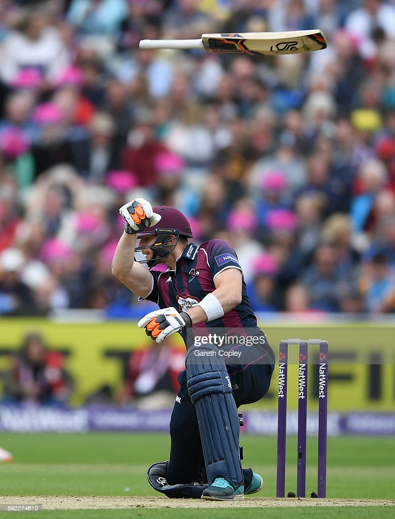 Rob Keogh of Northamptonshire loses grip of his bat during the NatWest t20 Blast Semi Final between Northamptonshire and Nottinghamshire at Edgbaston...