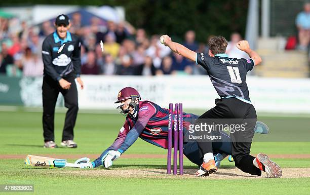 Rob Keogh of Northants is run out during the NatWest T20 Blast match between Worcestershire Rapids and Northamptonshire Steelbacks at New Road on...