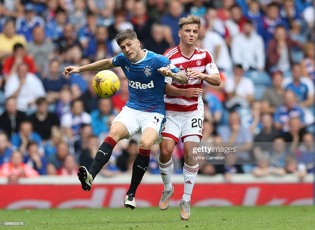 Rob Kiernan of Rangers and Eamonn Brophy of Hamilton Academical during the Ladbrokes Scottish Premiership match between Rangers and Hamilton Academical at Ibrox Stadium on August 6, 2016 in Glasgow, Scotland.