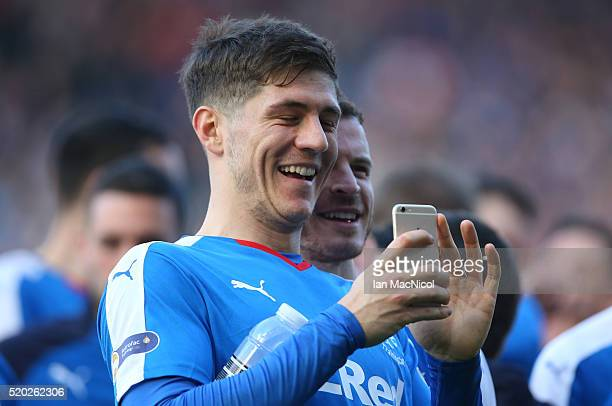 Rob Kiernan of Rangers reacts during the Petrofac Training Cup Final between Rangers and Peterhead at Hampden Park on April 10 2016 in Glasgow...