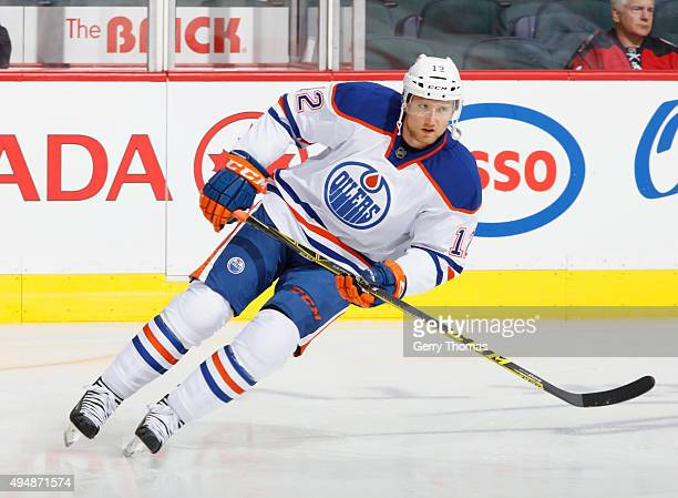 Rob Klinkhammer of the Edmonton Oilers skates against the Calgary Flames at Scotiabank Saddledome on October 17 2015 in Calgary Alberta Canada