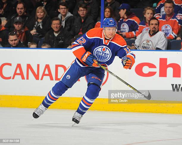 Rob Klinkhammer of the Edmonton Oilers skates during a game against the Arizona Coyotes on January 2 2016 at Rexall Place in Edmonton Alberta Canada