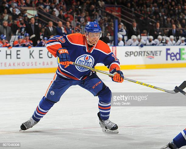 Rob Klinkhammer of the Edmonton Oilers skates during a game against the Tampa Bay Lightning on January 8 2016 at Rexall Place in Edmonton Alberta...