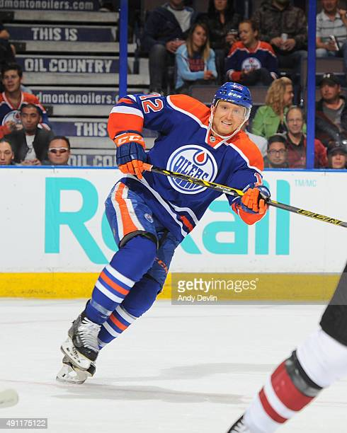 Rob Klinkhammer of the Edmonton Oilers skates during a preseason game against the Arizona Coyotes on September 29 2015 at Rexall Place in Edmonton...