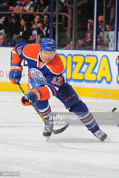 Rob Klinkhammer of the Edmonton Oilers skates on the ice during the game against the Anaheim Ducks on February 21 2015 at Rexall Place in Edmonton...