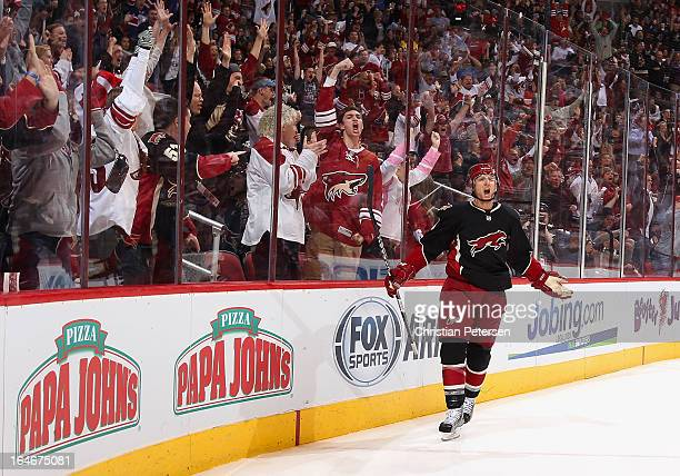 Rob Klinkhammer of the Phoenix Coyotes celebrates after scoring a first period goal against the Detroit Red Wings during the NHL game at Jobingcom...