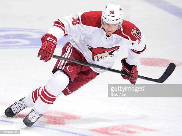 Rob Klinkhammer of the Phoenix Coyotes skates during warm up prior to NHL game action December 19 2013 at the Air Canada Centre in Toronto Ontario...