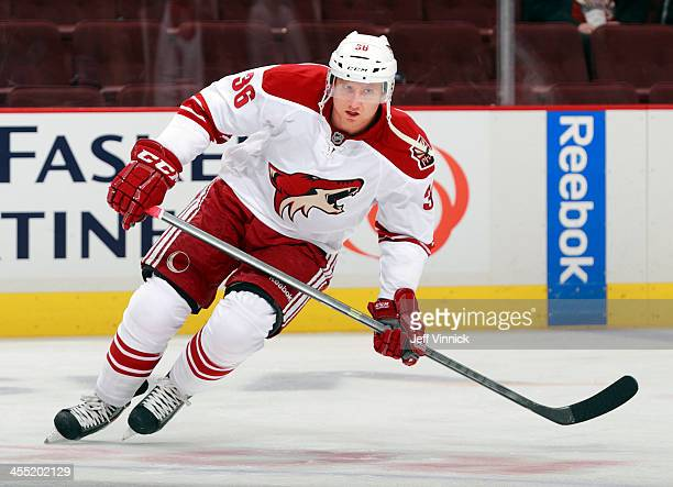 Rob Klinkhammer of the Phoenix Coyotes skates up ice during their NHL game against the Vancouver Canucks at Rogers Arena on December 6 2013 in...