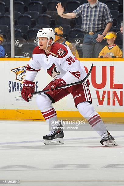 Rob Klinkhammer of the Phoenix Coyotes warms up prior to a game against the Nashville Predators at Bridgestone Arena on April 10 2014 in Nashville...