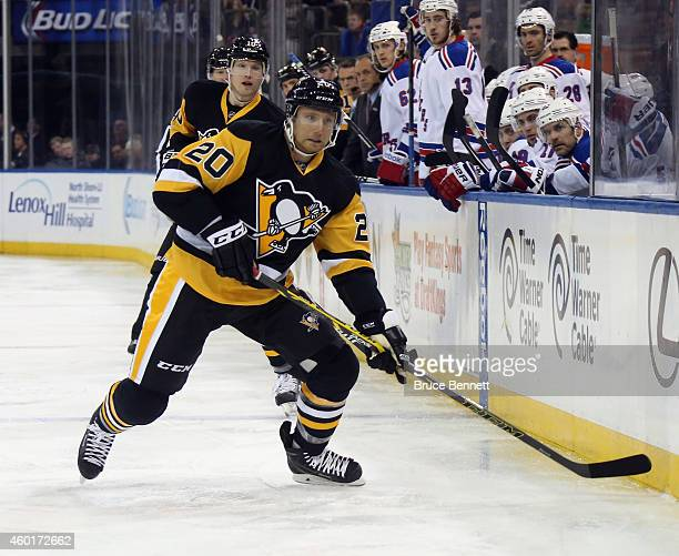 Rob Klinkhammer of the Pittsburgh Penguins skates against the New York Rangers at Madison Square Garden on December 8 2014 in New York City The...