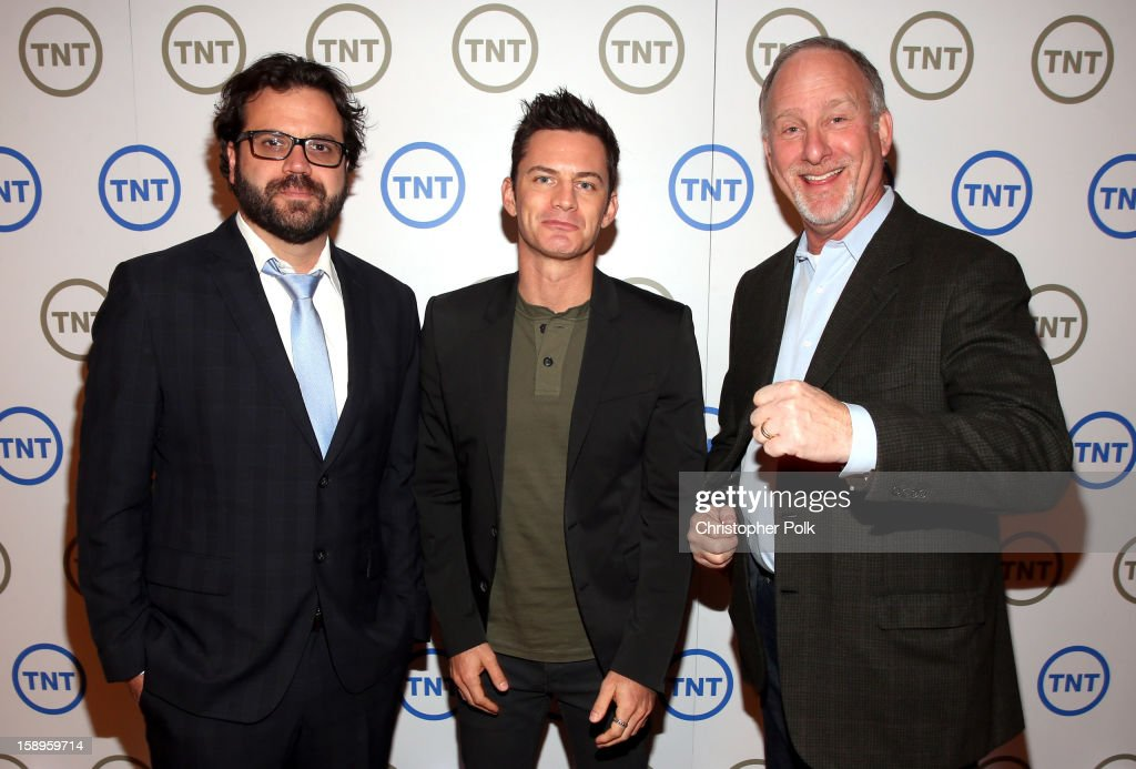 Rob LaPlante, Executive Producer of '72 Hours', Brandon Johnson, Host of '72 Hours' and Howard Schultz, Executive Producer of '72 Hours', attend Turner Broadcasting's 2013 TCA Winter Tour at Langham Hotel on January 4, 2013 in Pasadena, California. 23128_001_CP_0273.JPG
