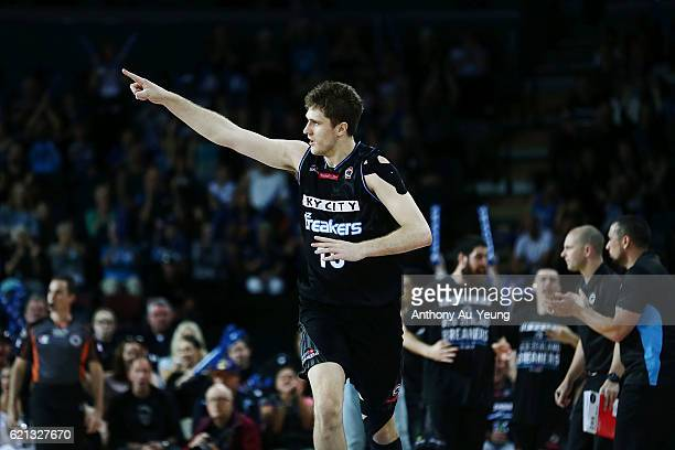Rob Loe of New Zealand celebrates a three pointer during the round five NBL match between the New Zealand Breakers and the Brisbane Bullets at Vector...