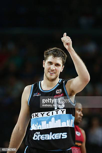 Rob Loe of the Breakers reacts during the round 16 NBL match between the New Zealand Breakers and the Perth Wildcats at Vector Arena on January 22...