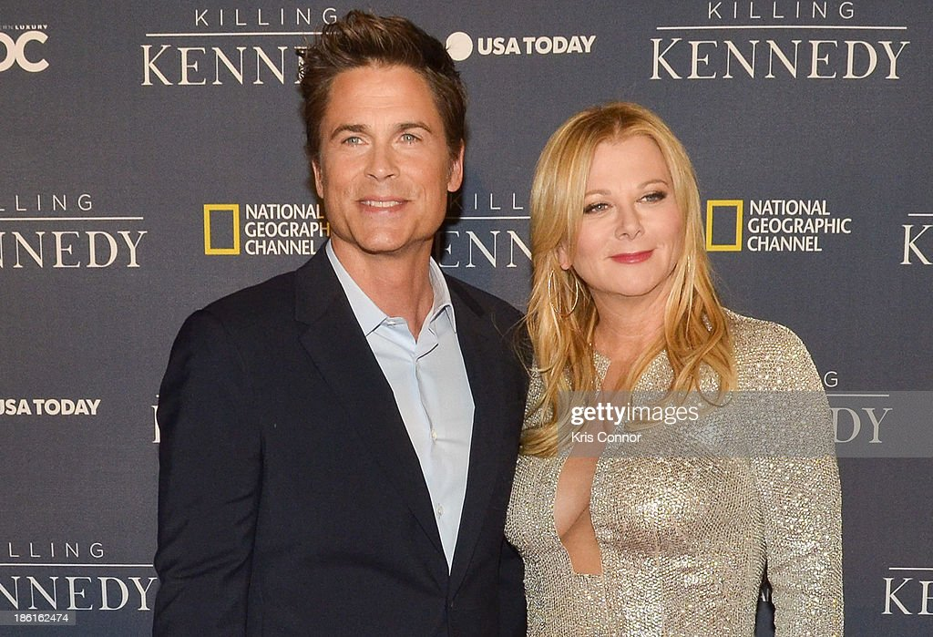 <a gi-track='captionPersonalityLinkClicked' href=/galleries/search?phrase=Rob+Lowe&family=editorial&specificpeople=211607 ng-click='$event.stopPropagation()'>Rob Lowe</a> and Sheryl Berkoff attend the National Geographic Channel's 'Killing Kennedy' World Premiere at The Newseum on October 28, 2013 in Washington, DC.