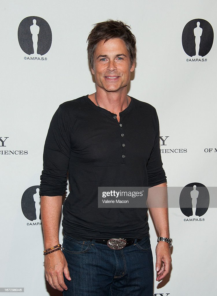 <a gi-track='captionPersonalityLinkClicked' href=/galleries/search?phrase=Rob+Lowe&family=editorial&specificpeople=211607 ng-click='$event.stopPropagation()'>Rob Lowe</a> attends Academy Of Motion Picture Arts And Sciences Hosts A 'Wayne's World' Reunion at AMPAS Samuel Goldwyn Theater on April 23, 2013 in Beverly Hills, California.