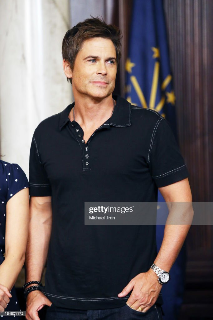 <a gi-track='captionPersonalityLinkClicked' href=/galleries/search?phrase=Rob+Lowe&family=editorial&specificpeople=211607 ng-click='$event.stopPropagation()'>Rob Lowe</a> attends the 'Parks And Recreation' 100th episode celebration held at CBS Studios - Radford on October 16, 2013 in Studio City, California.