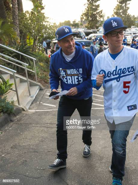 Rob Lowe is seen arriving to Game 7 of the 2017 World Series between the Houston Astros and the Los Angeles Dodgers at Dodger Stadium on November 01...