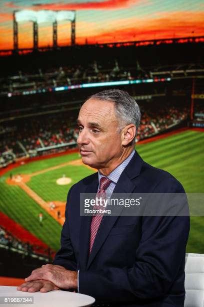 Rob Manfred commissioner of Major League Baseball listens during a Bloomberg Television interview in New York US on Thursday July 20 2017 Manfred...
