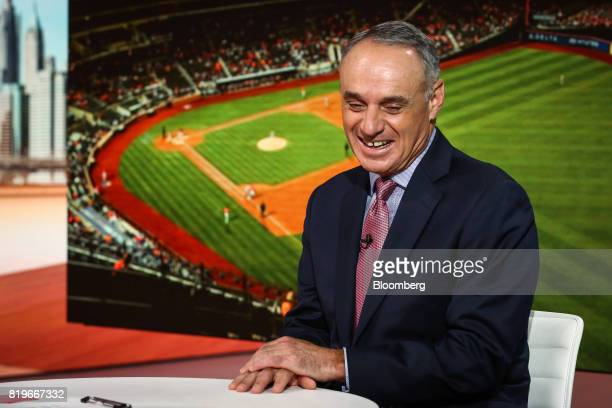 Rob Manfred commissioner of Major League Baseball speaks during a Bloomberg Television interview in New York US on Thursday July 20 2017 Manfred...