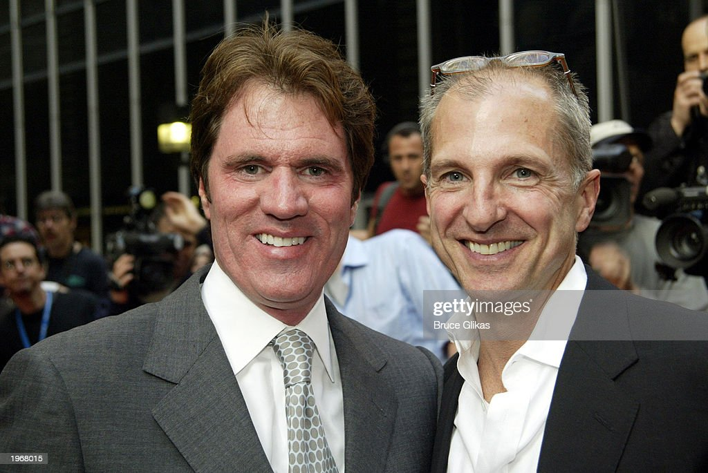 Rob Marshall (L) and John DeLuca arrive at the opening night of 'Gypsy' on Broadway at The Shubert Theatre May 1, 2003 in New York City.