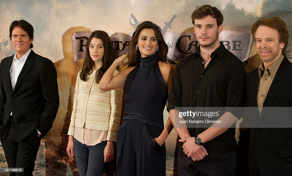 Rob Marshall, French actress Astrid Berges-Frisbey, Spanish actress Penelope Cruz, British actor Samuel Claflin and productor Jerry Bruckheimer attend 'Pirates Of The Caribbean: On Stranger Tides'