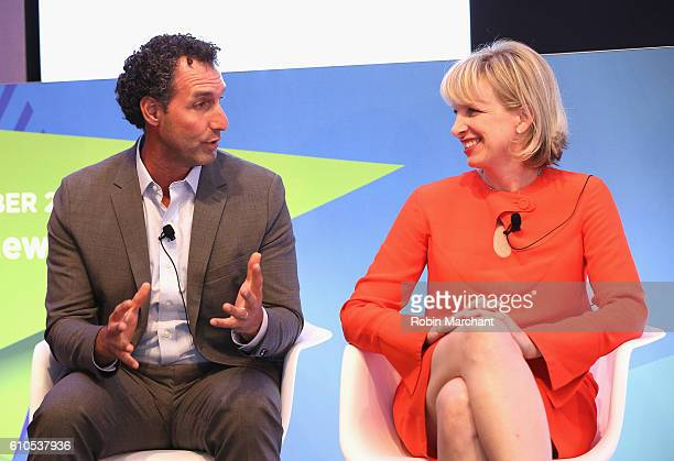 Rob Master and Allie Kline speaks onstage during the Gender Disparity A Data Driven Remedy panel at Thomson Reuters during 2016 Advertising Week New...