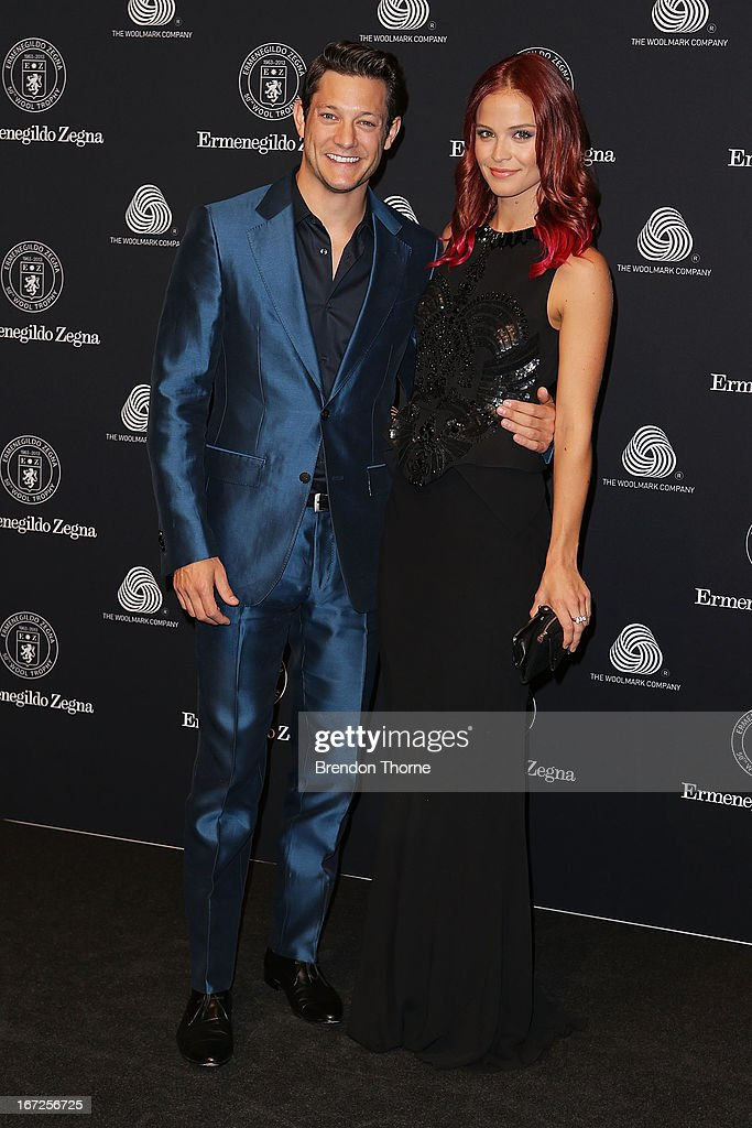Rob Mills and Lauren Brent arrive for the 50th Anniversary Wool Awards at the Royal Hall of Industries, Moore Park on April 23, 2013 in Sydney, Australia.