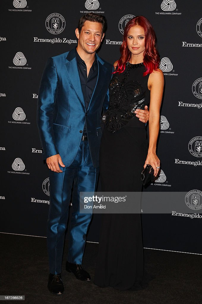 Rob Mills and Lauren Brent pose during the 50th Anniversary Wool Awards at Royal Hall of Industries, Moore Park on April 23, 2013 in Sydney, Australia.