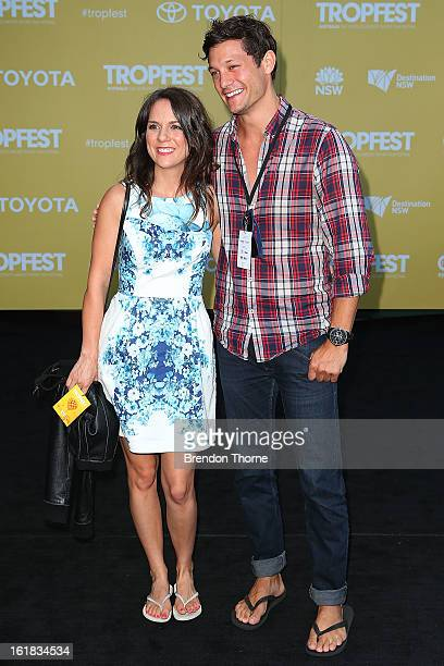 Rob Mills and Michala Banas arrive during the Tropfest Short Film Festival at The Domain on February 17 2013 in Sydney Australia