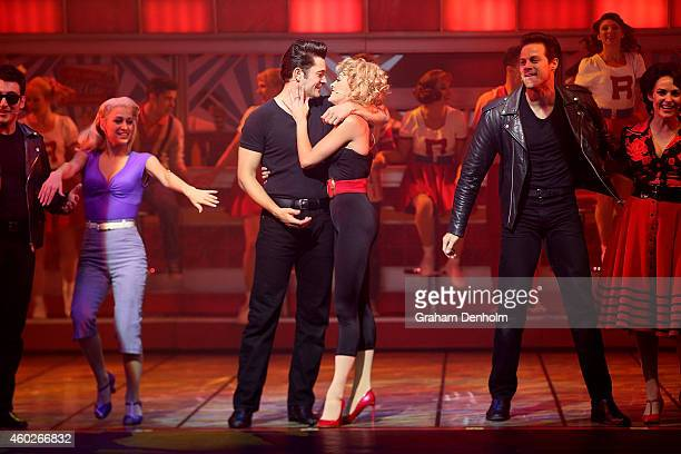Rob Mills as Danny and Gretel Scarlett as Sandy perform at the 'Grease' musical at The Regent Theatre on December 11 2014 in Melbourne Australia The...