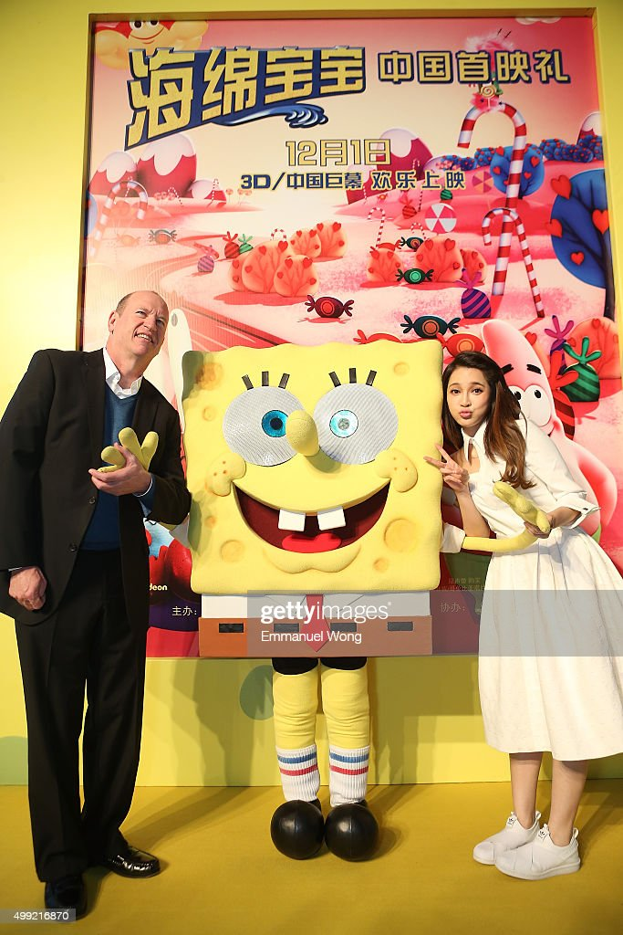 Rob Moorethe vice chairman of Paramount Pictures and Chinese singer Ai Fei attend the Beijing Premiere of The SpongeBob Movie Sponge Out Of Water at...